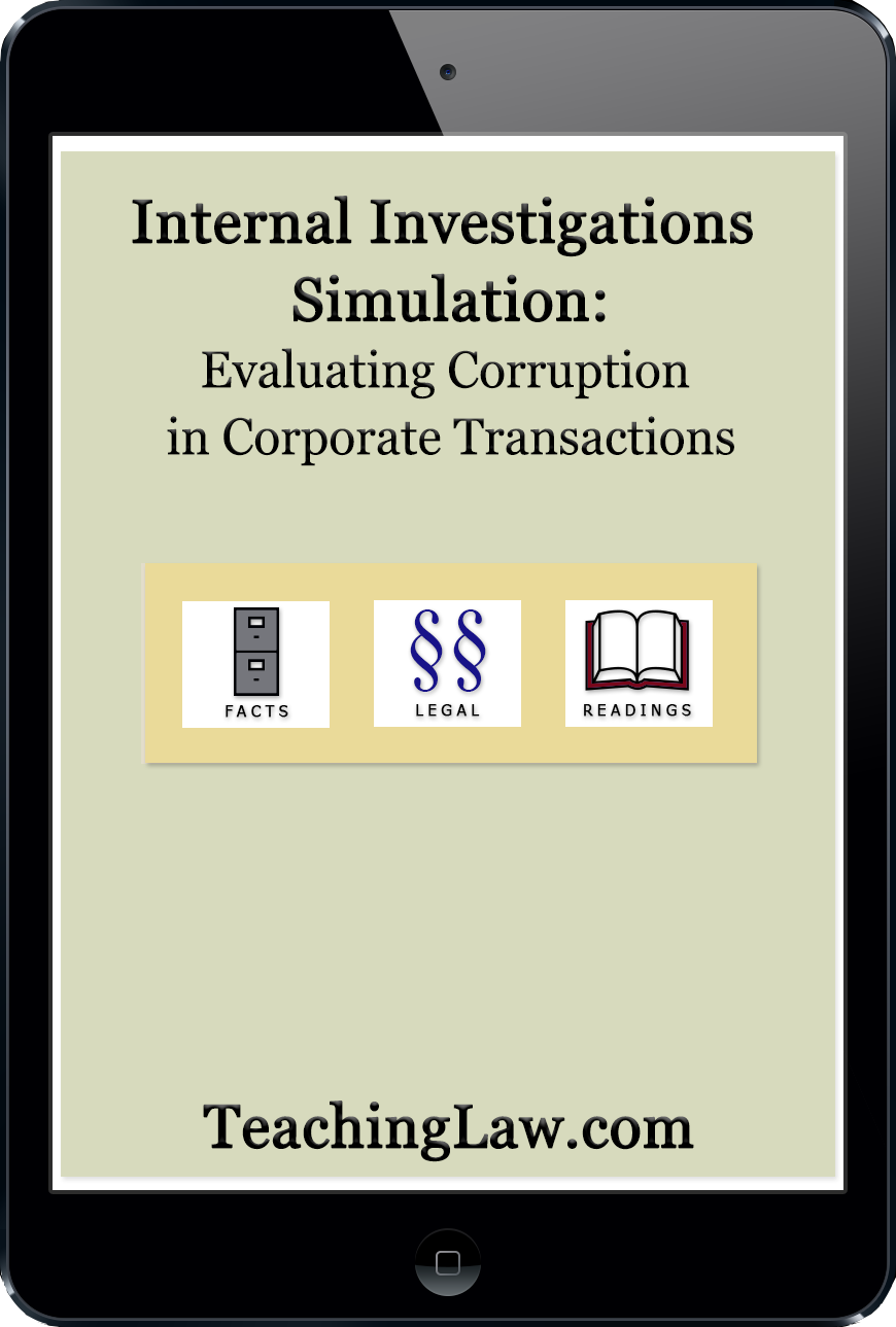 Internal Investigations Simulations: Evaluating Corruption in Corporate Transactions